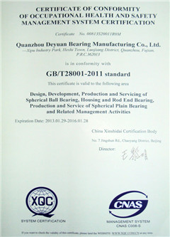GB/T 28001-Occupational Health & Safety Management System Certificate